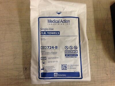 Medical Action Single-use Sterile O.R. Towels, 724-B, Case of 20 packs of 4 each