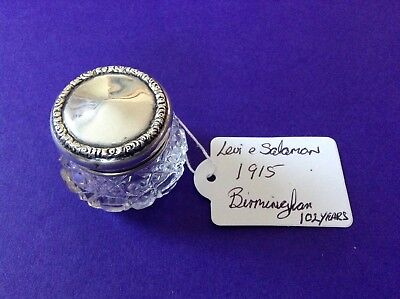 Antique Silver Topped Grooming / Vanity Jar Hallmarked For Birmingham 1915