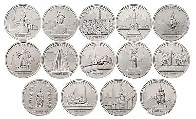 Russia, 2016 II World War European liberated capitals, 14 coins x 5 Rbl