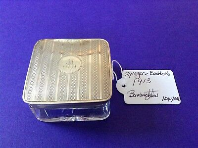 Antique Silver Topped Grooming / Vanity Jar Hallmarked For Birmingham 1913