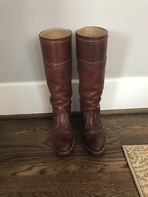 FRYE Women's Size 7.5 B Tall Brown Leather Boots Jane