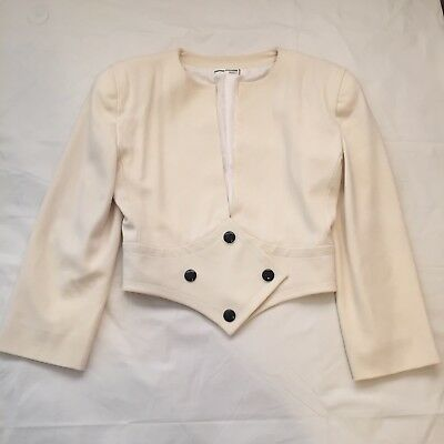 Rare Vintage Pierre Cardin Space Age Cream Wool Jacket 38 S