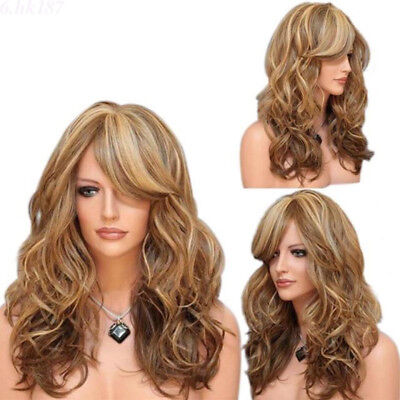 Lange Wellige Blonde Perücke Damen Haar Faser Vollperücke Cosplay Party Wig