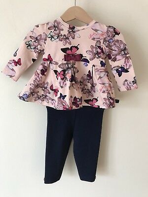 Baby Girls Ted Baker 3-6 Months Butterfly Print Pink Long Sleeve Top Leggings