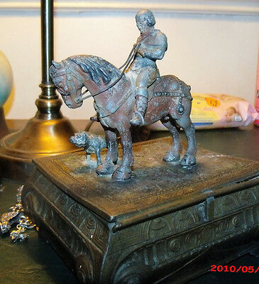 Antique Cast Metal Box Horse And Dog Figure