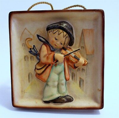 """Hummel Wall Plaque Old Style #93 """"Little Fiddler"""" TMK-1 Incised & Stamped Crown"""
