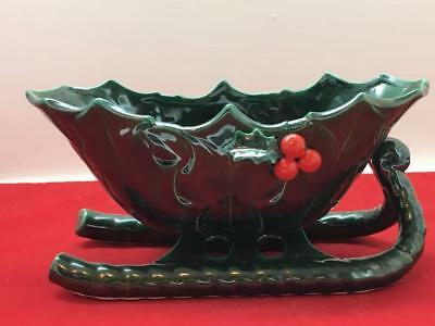 """Large Vintage Lefton Christmas Sleigh Candy Dish Green with Holly 11"""" Pinecones"""