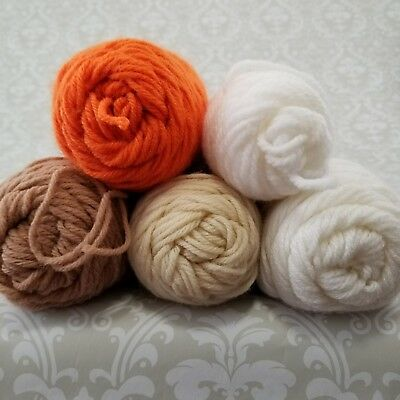 Mixed Lot Vintage Yard 5 Skeins Orange Off White Brown Beige