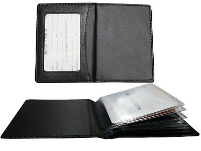 New Men's Genuine Leather Bifold ID Credit Card Money Holder Wallet Black