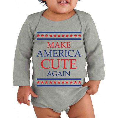 050 Make America Cute Again Infant Long Sleeve One Piece funny trump president