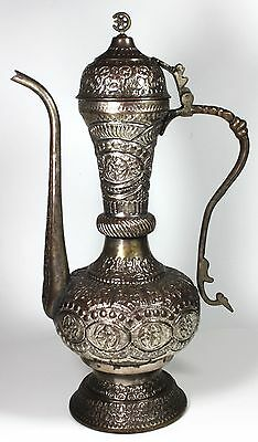 Antique Handmade Ornate Brass LARGE Tea Pot with Handle  TALL-16 inch