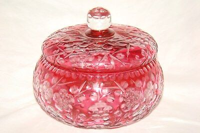 Spectacular ABP American Brilliant Cut Cranberry to Clear Covered Jar