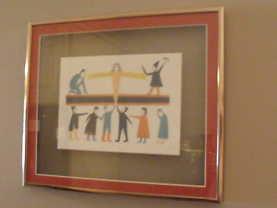 Jessie OONARK- INUIT ARTIST framed art card GIVER OF LIFE