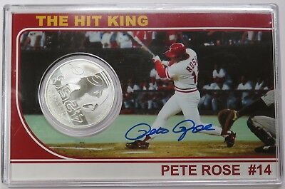 Pete Rose AUTOGRAPH SIGNED 1 OZ SILVER .999 Fine Troy Ounce Coin Baseball #14623