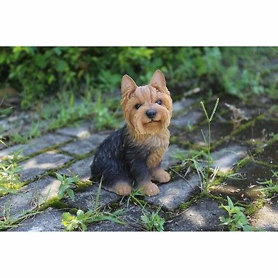 NEW Sitting Yorkshire Terrier Figurine - Life Like Figurine Statue Home / Garden