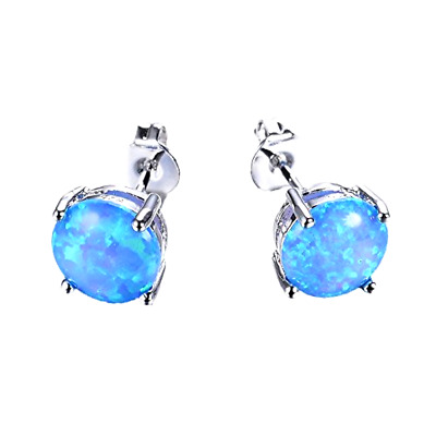 925 Earring White Gold Round Blue Fire Opal Sterling Silver 7.4mm Stud Teen Girl
