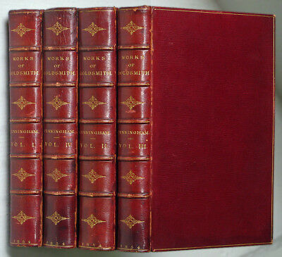 THE WORKS OF OLIVER GOLDSMITH 1854 • 4 vols. MOROCCO BINDINGS by TOUT