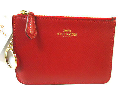 NWT COACH Key Pouch with Gusset F64064 True Red F3
