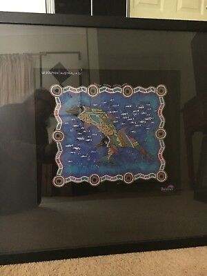 Artwork Canvas/fabric Dolphin Aboriginal Framed Under Glass
