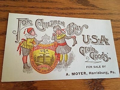 Old Trade Card McIntosh USA Grain Goods Leather Children's' Shoes Harrisburg Pa.
