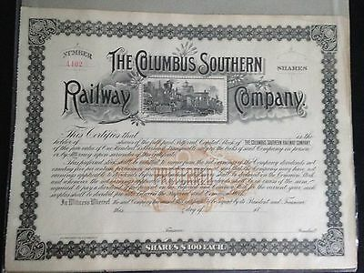 1890's Columbus Southern Railway Company Unissued Preferred Stock Certificate