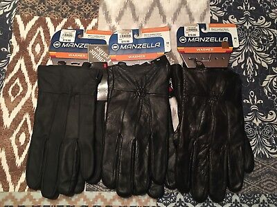 MANZELLA Men's 3M Thinsulate 40g Insulated Leather Black Gloves Size Large