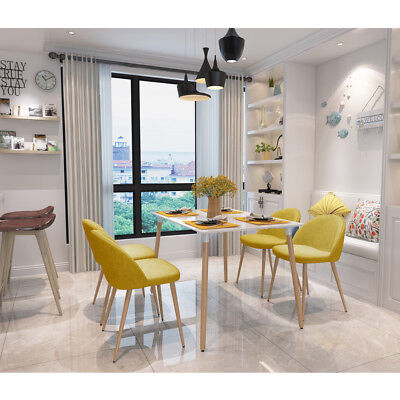 High Quality 4PC/Set Armless Chair Metal Legs Dining Chair Side Chair in Yellow