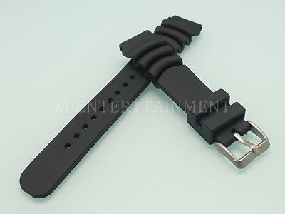 20MM 22MM 24MM Black Silicone Rubber Watch Strap Silver Fits For Seiko Diver