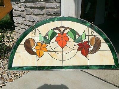"Stained/Leaded Glass Window 47.5"" x 23"" Half-Circle Hand-Crafted"