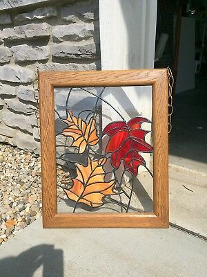 "Stained/Leaded Glass Window Panel Wood-Framed 17.25"" x 21.25"" Autumn Leaf Motif"