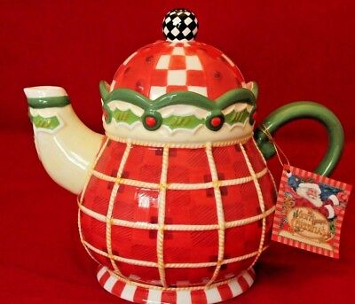 """Mary Engelbreit 'Night Before Christmas' Teapot, Red Plaid w/Holly 8"""" Tall"""