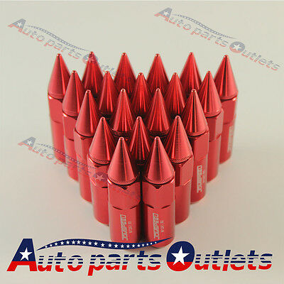 Red Cap Spiked Extended Tuner 60mm Aluminum Wheels Rims Lug Nuts M12X1.5 20PCS