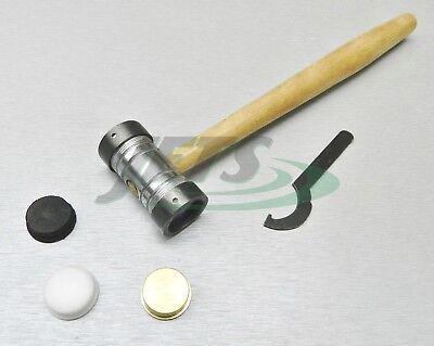 """Jewelry Making Hammer Brass Nylon Fiber 3 Interchangeable Faces 9oz 7/8"""" Faces"""