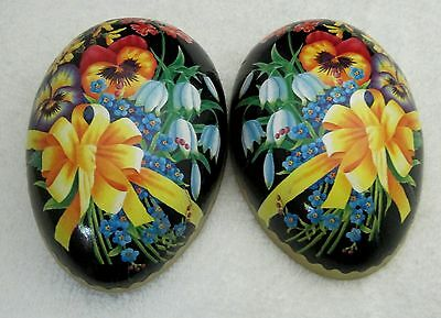 Older Paper German Easter Egg Box w Black Background  Pansy & Yellow Bow Design