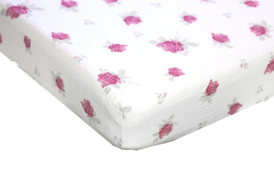 Crib Sheet - Ultra Soft - by Margaux & May - 100% Muslin Cotton (Pink) Fits Stan