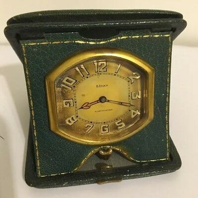 Antique NORMIS 8-Day Travel Clock w/ A. Lecoulture Dial in Leather Case