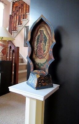 """Htf Mexican Antique 17"""" Tall Hp Retablo On Wood Virgen De Guadalupe; Signed"""