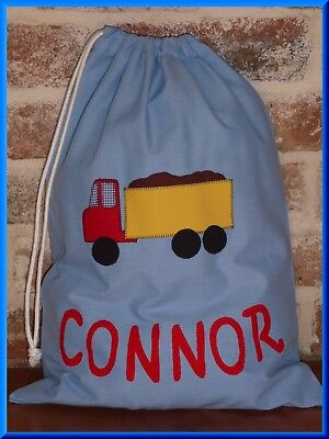 Boys Personalised Name Library Bag  - Truck  - With Name Connor As Shown