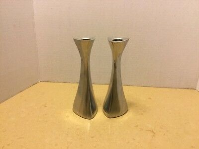 Pair Nambe Candlesticks Candle Holders 595