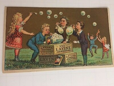 1800s Lavine Soap Washing Victorian Advertising Trade Card Blowing Bubbles