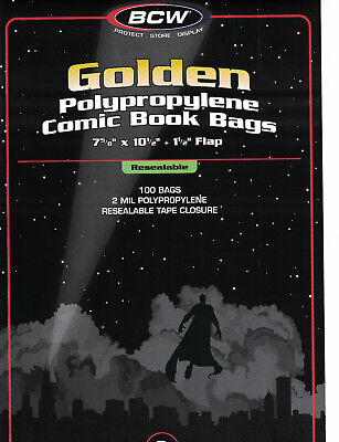 100 Bags BCW Resealable Golden Comic Bags 2 Mill Poly. 7 5/8 x 10 1/2 (#CS20)