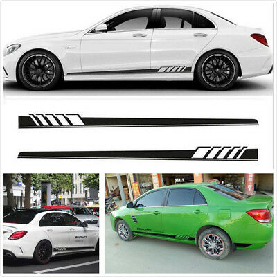 2Pcs Car Racing Sports Long Stripe Decals Graphics Side Body Vinyl Decal Sticker