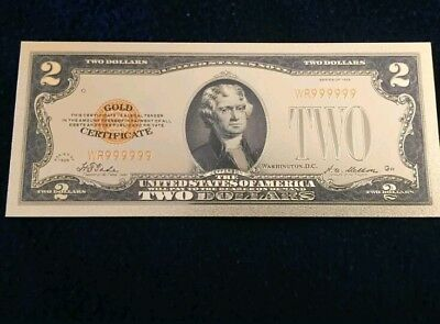 "<MINT> OLD STYLE ""GOLD"" $2.00 GOLD CERTIFICATE One DOLLAR Rep.*Banknote W/COA~"