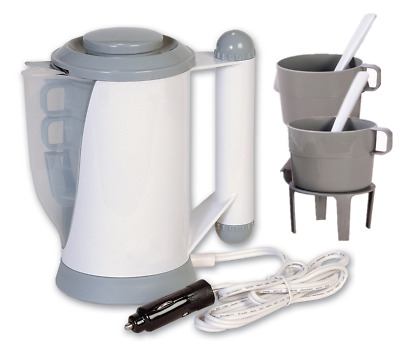 12V in-Car Van Motorhome Camping Boats Travel Kettle With 2 Cups Fast Rapid Boil