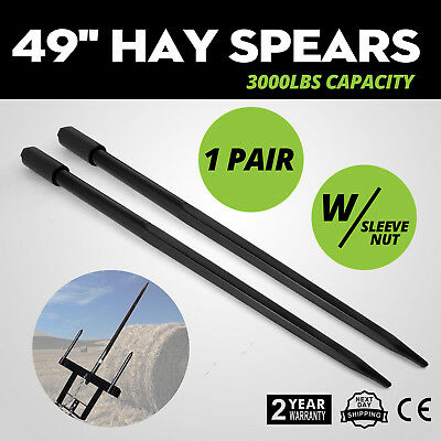 """Two 49"""" 3000 lbs Hay Spears Nut Bale Spike Fork Pair Tine Black Hay Attachment"""