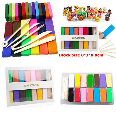 26 Colour Oven Bake Polymer Clay Block Modelling Moulding Sculpey Tool set 650g