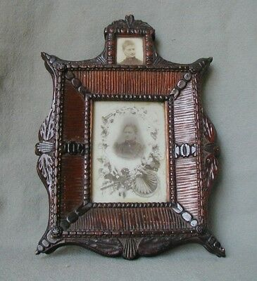 Beautiful German Ornate  Carved Wood Tramp Art Black Forest Frame With Photos