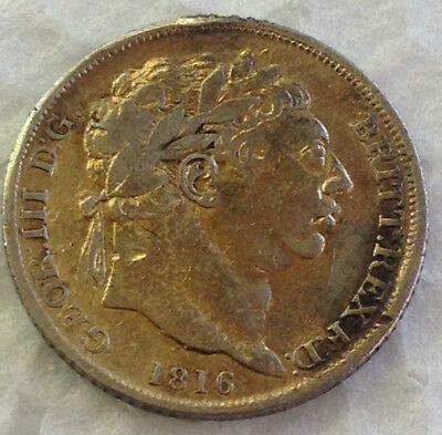 1816 GILT  SIXPENCE - GEORGE III BRITISH SILVER COIN - Silver Coin  #15