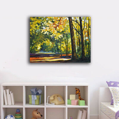 Forest Trees Lime Stretched Canvas Prints Framed Wall Art Home Decor Painting