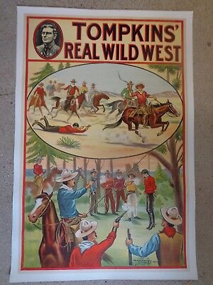 "Original Tompkins' Real Wild West Poster ""Hanging"" Linen Backed C 1914"